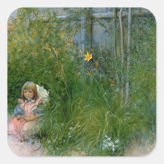 Brita en la cama de flor c1897 pegatina cuadrada