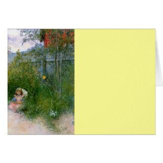 Brita en la cama de flor c1897 tarjeta de felicitación