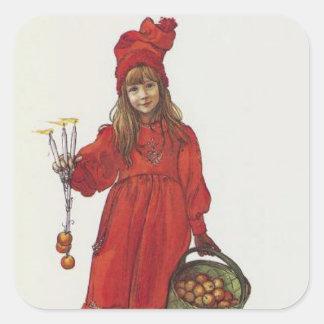 Brita (Iduna) con la cesta de las velas y de Apple Calcomanía Cuadrada