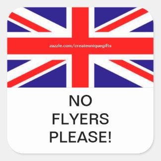 Britain Flag No Flyers Please Mail box Sticker