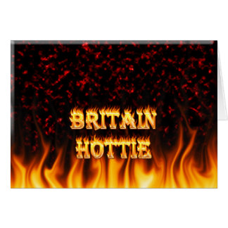 Britain Hottie fire and flames Red marble. Card