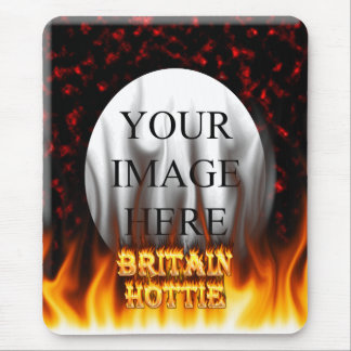Britain Hottie fire and flames Red marble. Mouse Pad