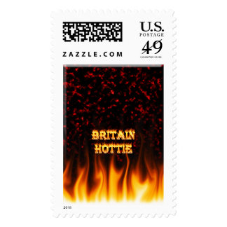 Britain Hottie fire and flames Red marble. Postage Stamp