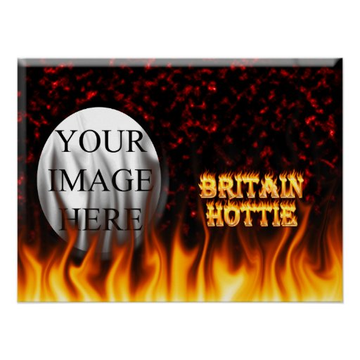 Britain Hottie fire and flames Red marble. Poster