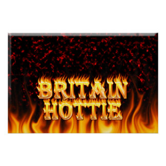 Britain Hottie fire and flames Red marble. Print