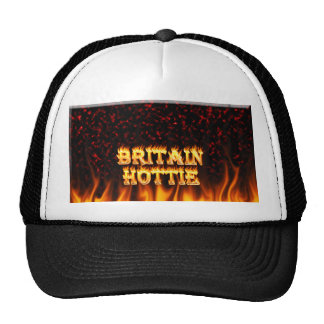 Britain Hottie fire and flames Red marble. Trucker Hat