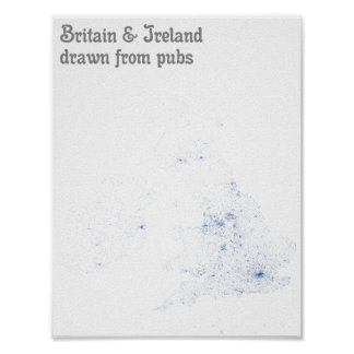 Britain & Ireland drawn from pubs - Map Print