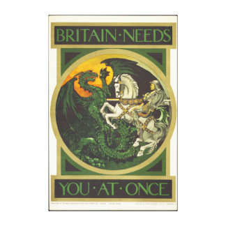 Britain Needs You At Once Dragon vs Knight Canvas Print