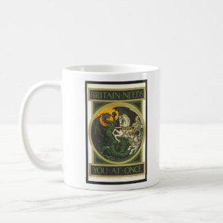 Britain Needs You At Once Dragon vs Knight Coffee Mug