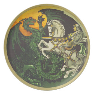 Britain Needs You At Once Dragon vs Knight Dinner Plate