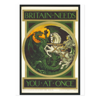 Britain Needs You At Once Dragon vs Knight Postcard