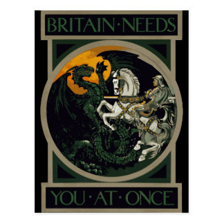 Britain Needs You At Once Knight & Dragon Postcard