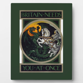 Britain Needs You At Once ~ Recruitment Poster Display Plaque