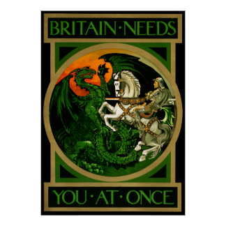 Britain needs you at once, WWI British War Poster