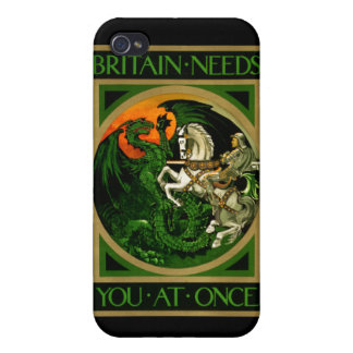 Britain needs you at once, WWI British War Poster iPhone 4 Covers