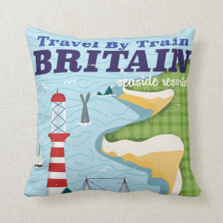 Britain vintage train vacation poster throw pillow