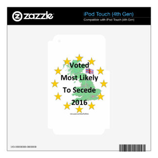 Britain Voted Most Likely to Secede 2016 White Decals For iPod Touch 4G