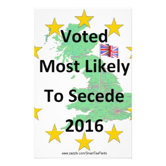 Britain Voted Most Likely to Secede 2016 White Stationery