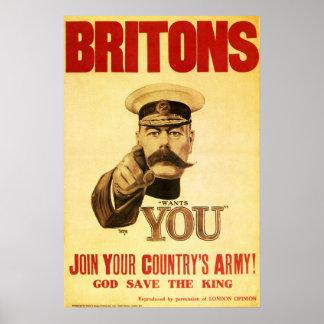 Británico le quieren, kitchener del señor impresiones