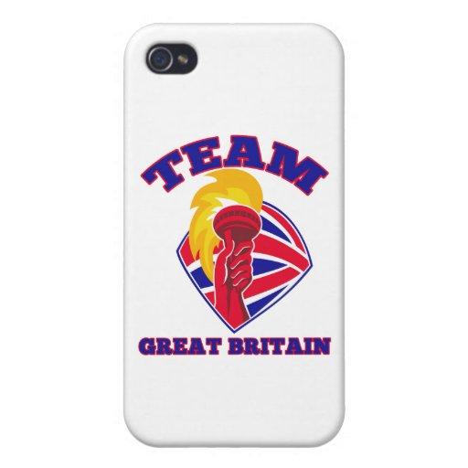 británico llameante de la antorcha del asimiento d iPhone 4/4S carcasas