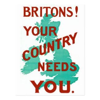 ¡Británico! Su país le necesita Tarjeta Postal