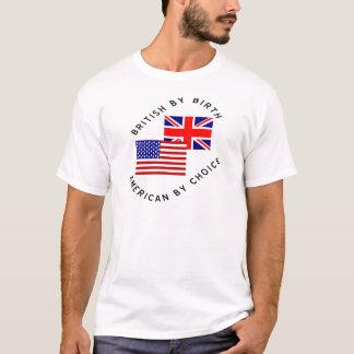 Británicos del americano del nacimiento por la playera
