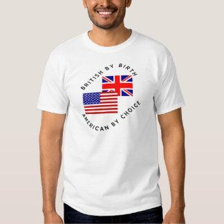 Británicos del americano del nacimiento por la remeras