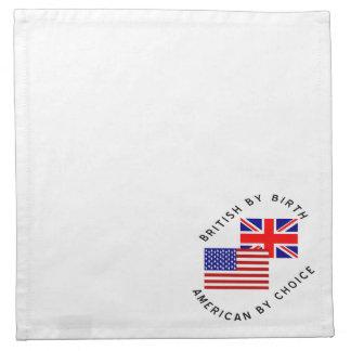 Británicos del americano del nacimiento por la servilletas imprimidas