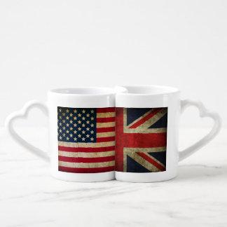 Británicos en la taza llevada americana del amor d tazas para parejas