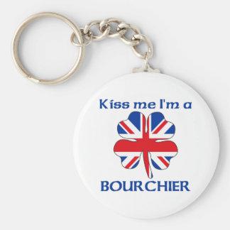 Británicos personalizados me besan que soy Bourchi Llavero Redondo Tipo Pin