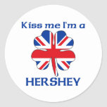 Británicos personalizados me besan que soy Hershey Pegatina Redonda