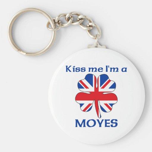 Británicos personalizados me besan que soy Moyes Llavero Redondo Tipo Pin