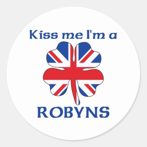 Británicos personalizados me besan que soy Robyns Etiquetas Redondas