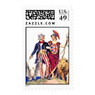 Britannia and Uncle Sam Stamp