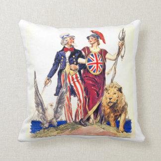 Britannia and Uncle Sam Throw Pillow