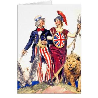 Britannia y tío Sam Tarjeta De Felicitación
