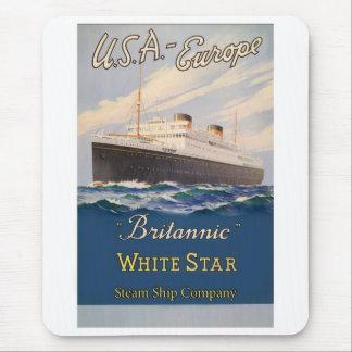 Britannic White Star Line Vintage Poster Mouse Pad