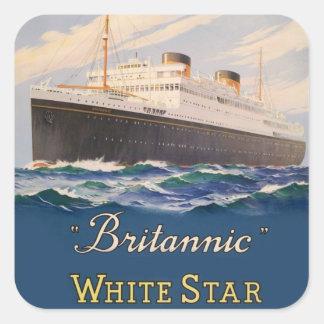 Britannic White Star Line Vintage Poster Square Sticker