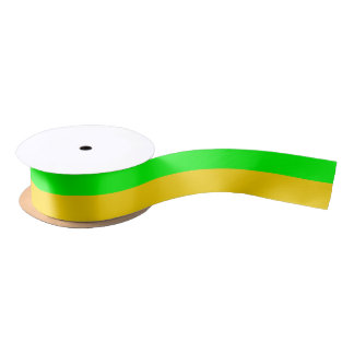 Brite Green and Yellow-Gold Satin Ribbon