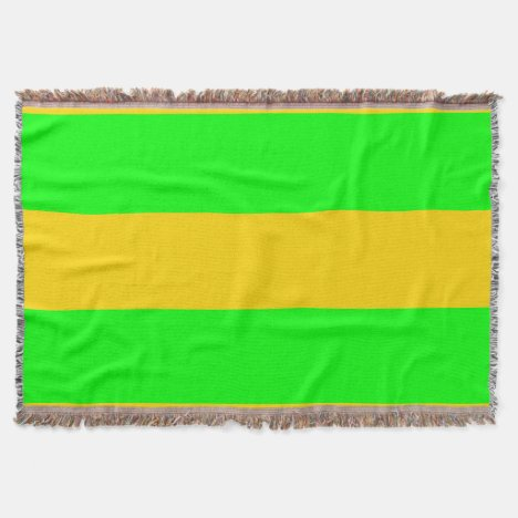 Brite Green and Yellow-Gold Striped Throw Throw Blanket