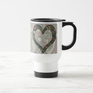 British 95 Forest Green Camouflage Heart Travel Mug