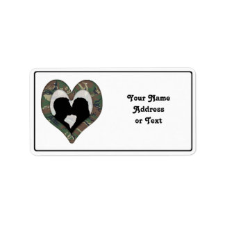 British 95 Forest Green Camouflage Kissing Couple Personalized Address Labels