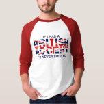 British accent sleeve raglan red white T-Shirt