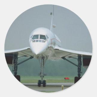 British Airways Concorde, on taxi way Round Sticker