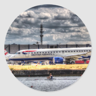 British Airways y solo Scull Pegatina Redonda