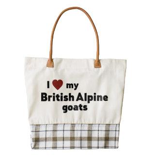 British Alpine goats Zazzle HEART Tote Bag
