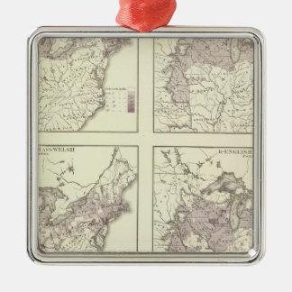 British American, English, Welsh, Swedish Square Metal Christmas Ornament