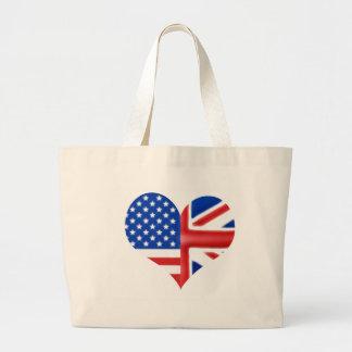 British American Heart Tote Bags
