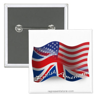 British-American Waving Flag Button