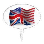 British-American Waving Flag Cake Topper